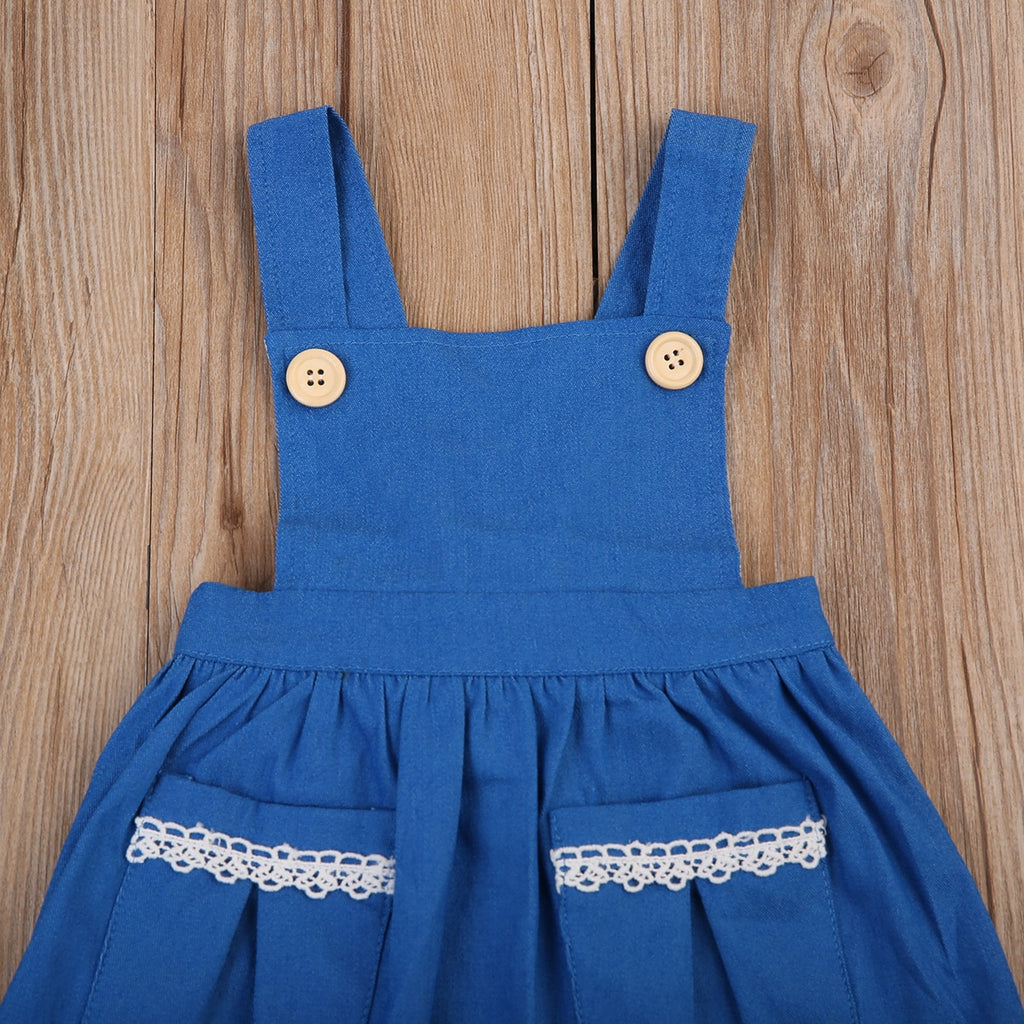 Sea Cobalt Button Lace Pocket Dress - Dresses - baby-petite