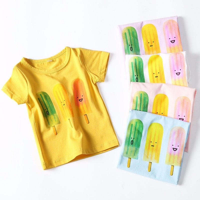 Summer Popsicle Cotton T-Shirt - Tops - baby-petite