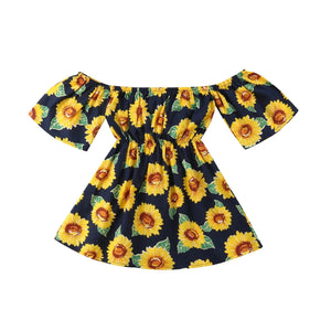 Off Shoulder Sunflower Field Summer Dress