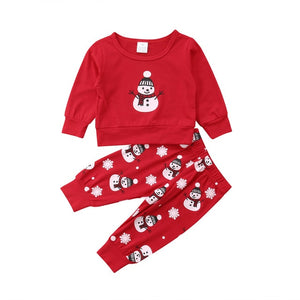 Frosted Frosty Snowman Two Piece Red Pajamas