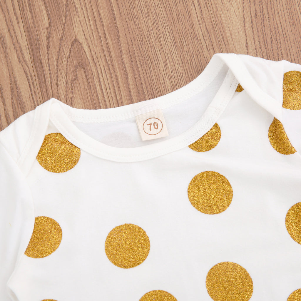 Gold Polka Dotty Dress Pajamas With Matching Headband