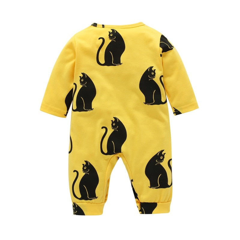 Pur Pur Kitty Kat Yellow Romper - Tops - baby-petite