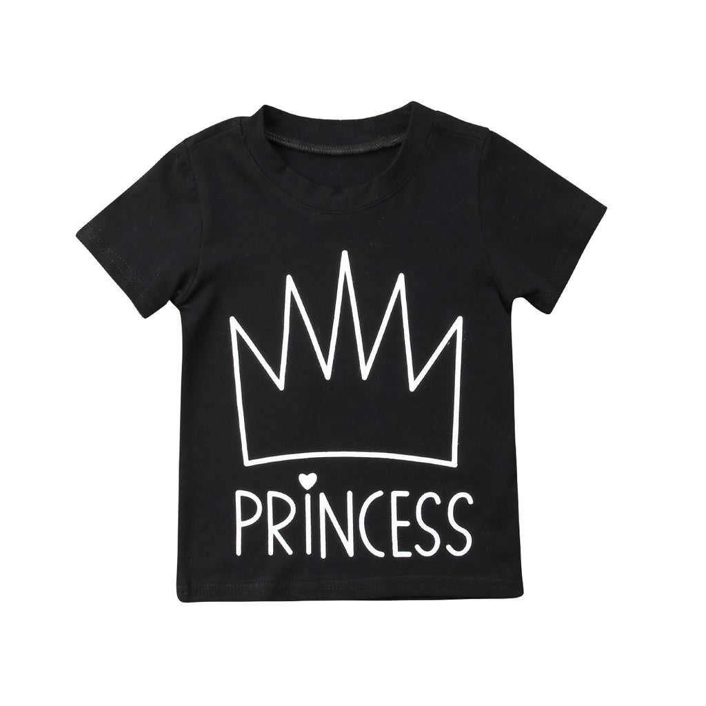 Princess Tiara Black Cotton Casual T-Shirt