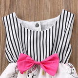 Petite Bunny Pink Bow Striped Romper - Rompers - baby-petite