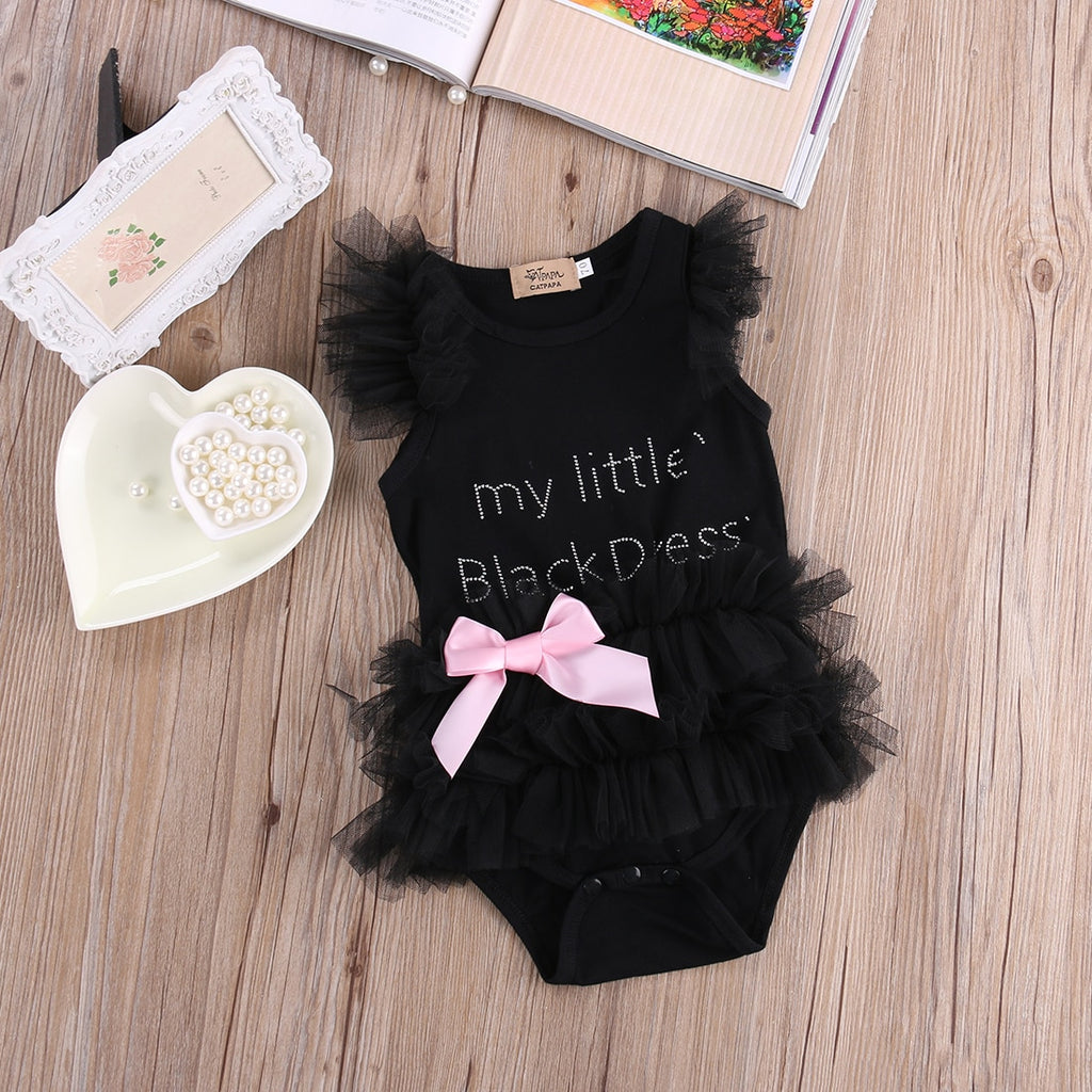 My Little Black Dress Pink Bow Ruffle Romper - Rompers - baby-petite