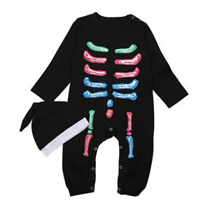 Neon Bones Halloween Romper With Matching Headband