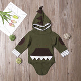 Army Green Dinosaur Textured Hooded Jacket