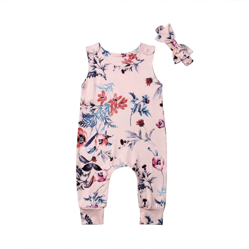 Sweet Pink Floral Garden Romper With Matching Headband - Rompers - baby-petite