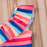 Multicolored Rainbow Striped One Piece Swimsuit With Bathing Hat