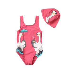 Pink Lady Ostrich One Piece Swimsuit With Bathing Hat