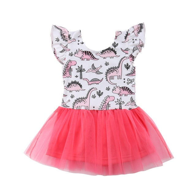 Pink Historic Dinosaur Tulle Dress - Dresses - baby-petite