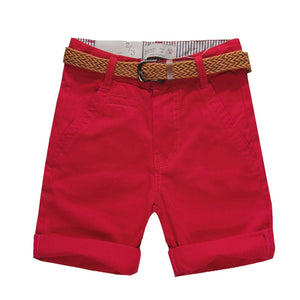 Belted Solid Colour Casual Summer Shorts (With Belt) - Shorts - baby-petite