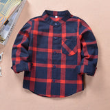 Mandarin Collar Plaid Long Sleeved Shirt