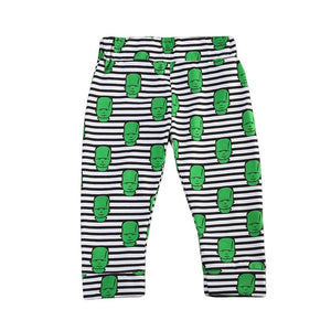 Little Green Alien Striped Leggings