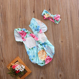 Azure Blooms Romper With Matching Headband - Rompers - baby-petite