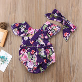 Violet Botanic Garden Romper With Matching Headband - Rompers - baby-petite