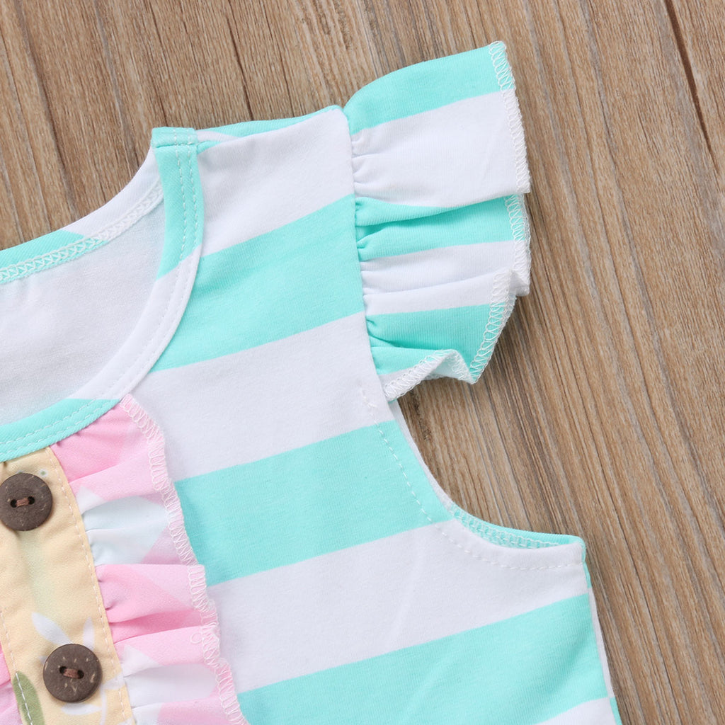 Cyan Striped Pink Floral Button Dress - Kids Petite - Baby & Kids Clothing