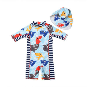 Little Friendly Baby Shark One Piece Swimsuit With Bathing Cap