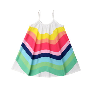 Casual Rainbow Sling Dress