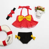 Big Bow Polka Dot Swimsuit With Matching Headband - Swimsuits - baby-petite