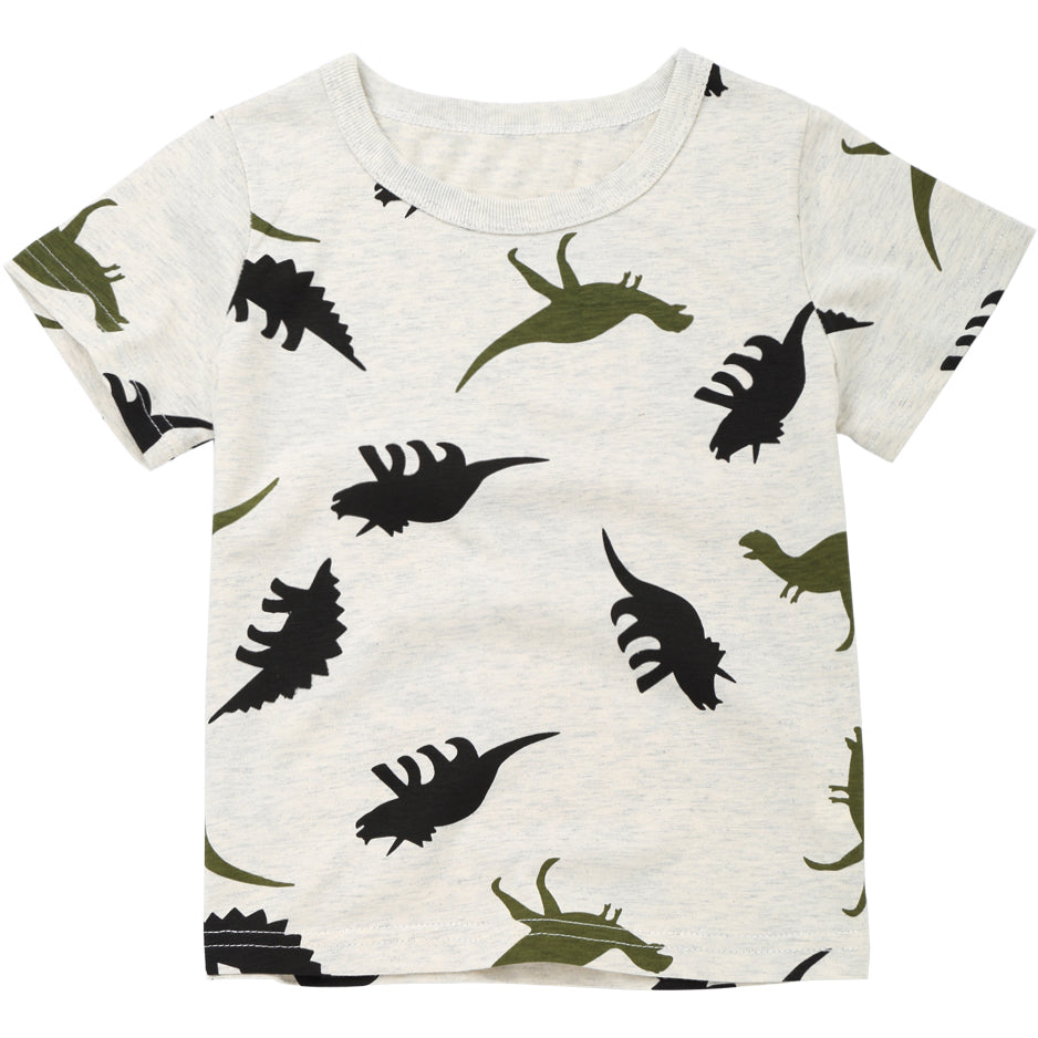 Dinosaur Print Hipster Cotton T-Shirt - Tops - baby-petite