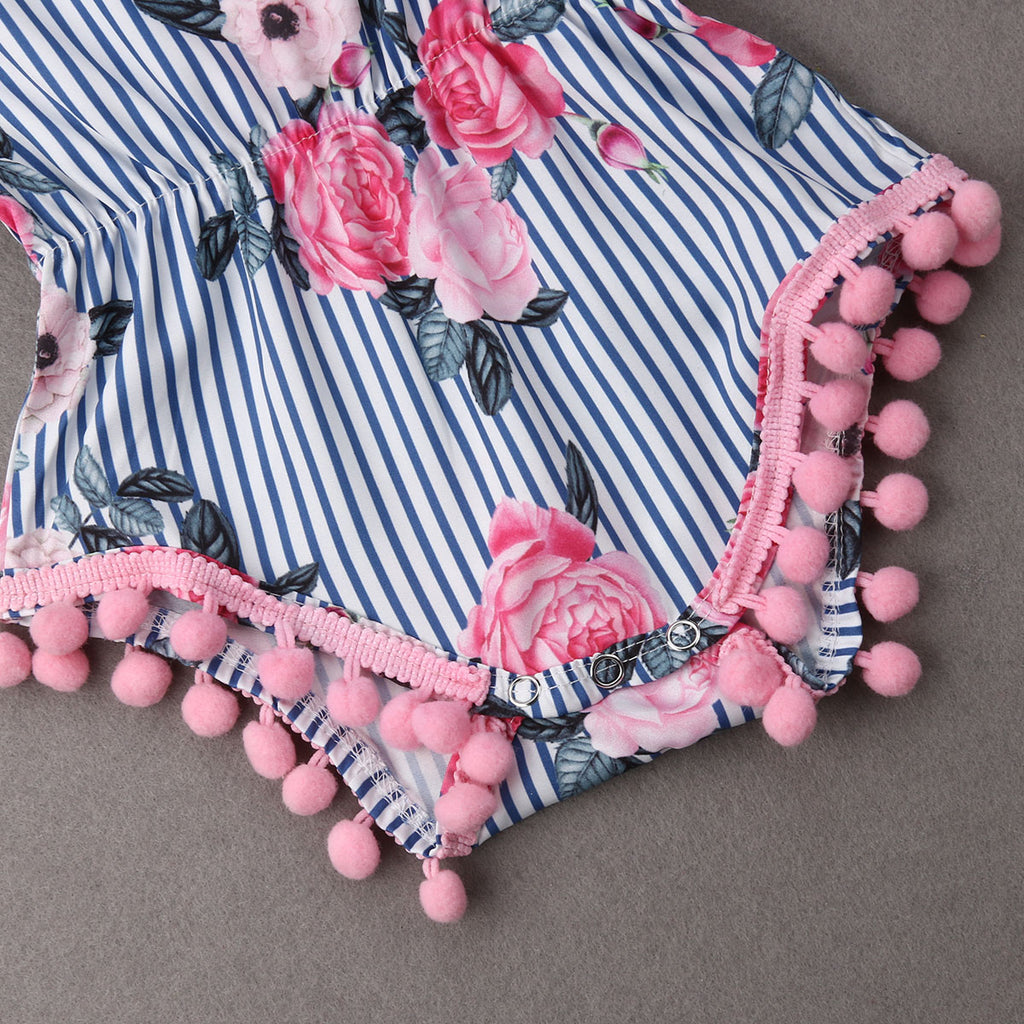 Serenity Striped Pink Pom Pom Romper - Rompers - baby-petite