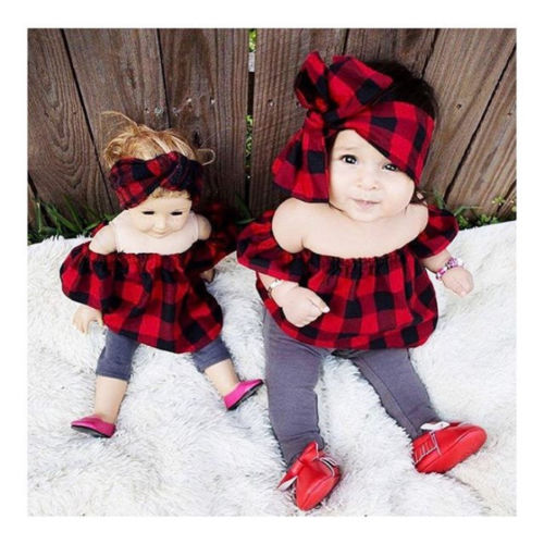 Off Shoulder Plaid Top With Matching Headband