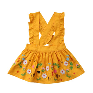 Sunny Floral Embroidery Ruffle Overall Skirt
