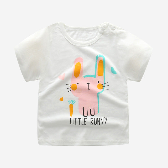 Pink Little Bunny Soft Casual Cotton T-Shirt - Tops - baby-petite