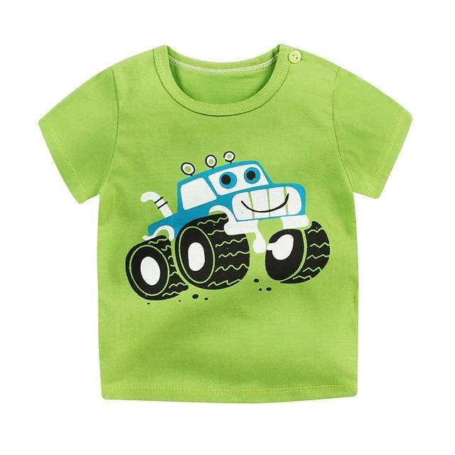 Friendly Green Truck Soft Casual Cotton T-Shirt - Tops - baby-petite