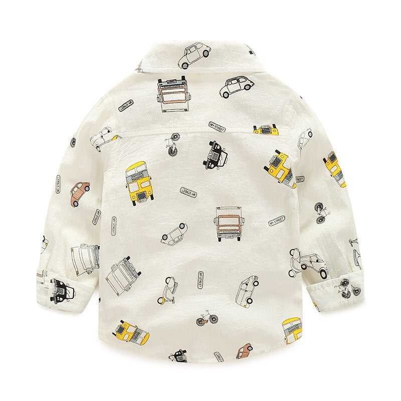 Little Car Printed Cream Button Down Shirt