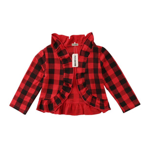 Stylish Plaid Ruffle Cotton Outerwear