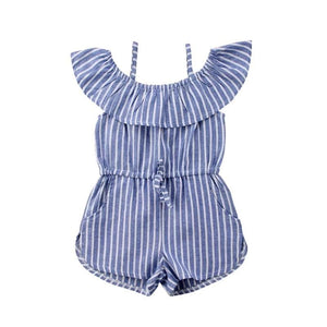 Cold Shoulder Casual Draw String Striped Romper