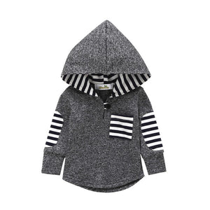 Striped Hooded With Front Pocket Long Sleeve Jacket
