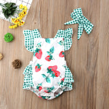 Strawberry Fields Polka Dot Romper With Matching Headband - Rompers - baby-petite