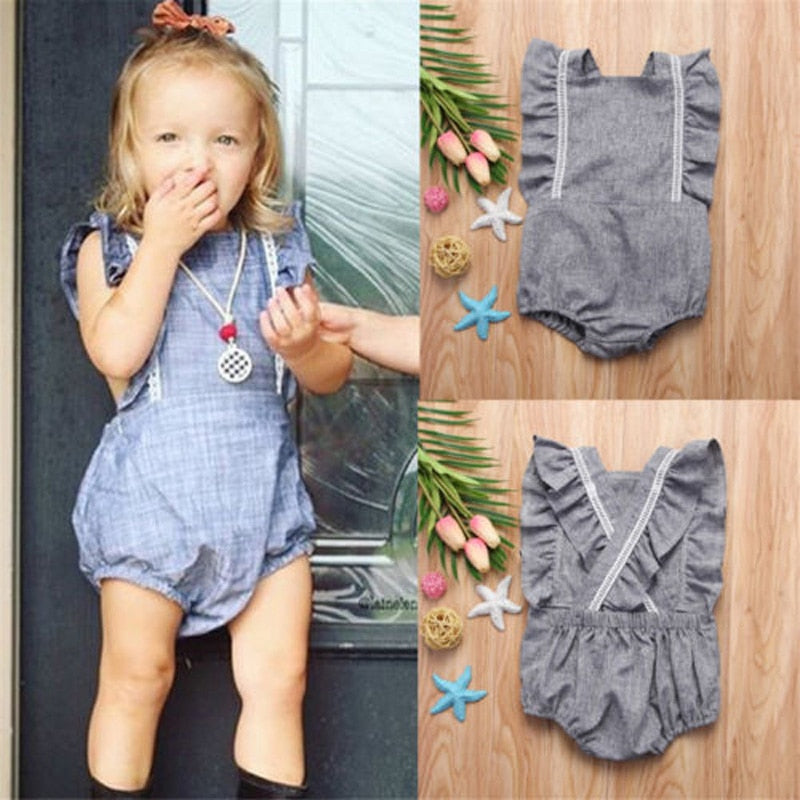 Dusty Cross Back Ruffle Romper - Rompers - baby-petite