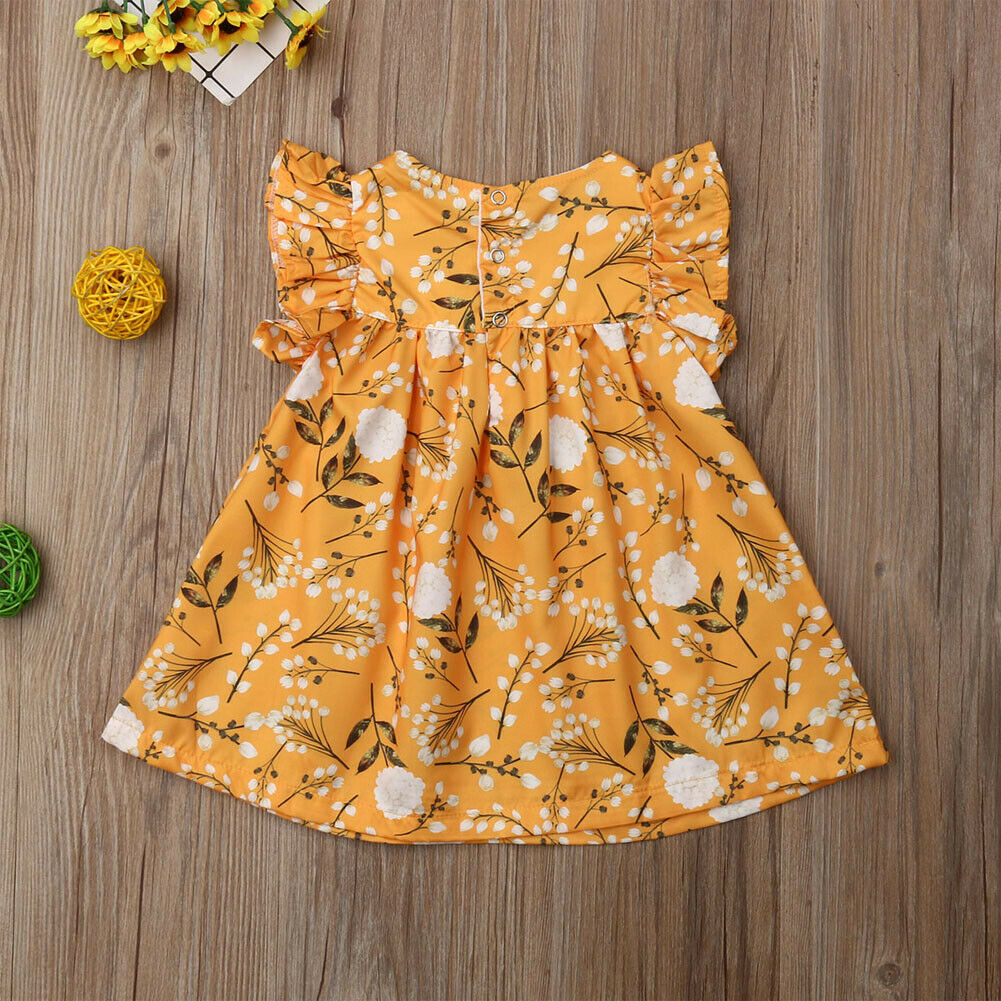 Lovely Spring Yellow Floral Dress - Dresses - baby-petite