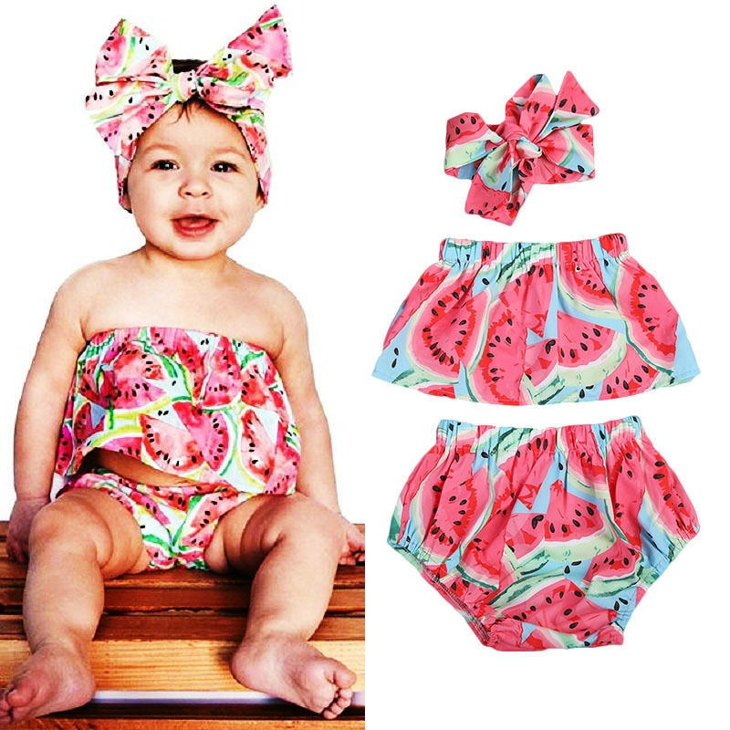 Watermelon Summer Splash Two Piece Romper With Matching Headband - Rompers - baby-petite