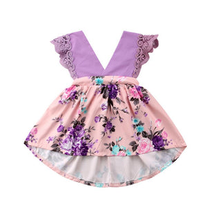 Lace Lilac Princess Floral Evening Dress