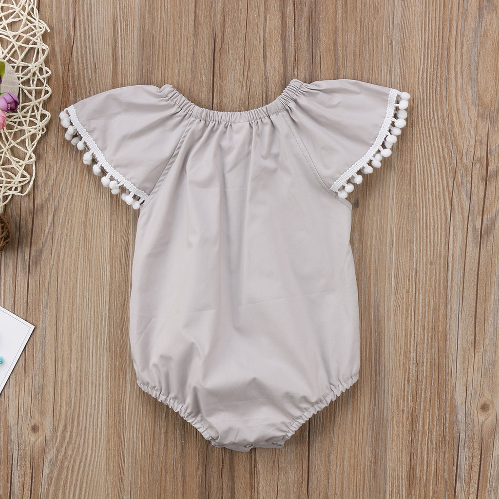 Basic Grey Solid Lace Sleeve Romper - Rompers - baby-petite