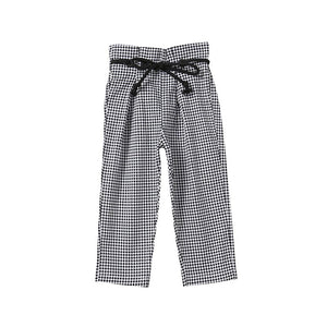 Casual Bandage Plaid Trousers With Belt