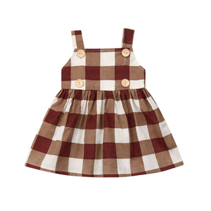 Plaid Button Detailed Sleeveless Dress