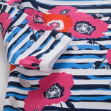 Blue Striped Flower Power Dress Pajamas With Matching Headband (Newborn)