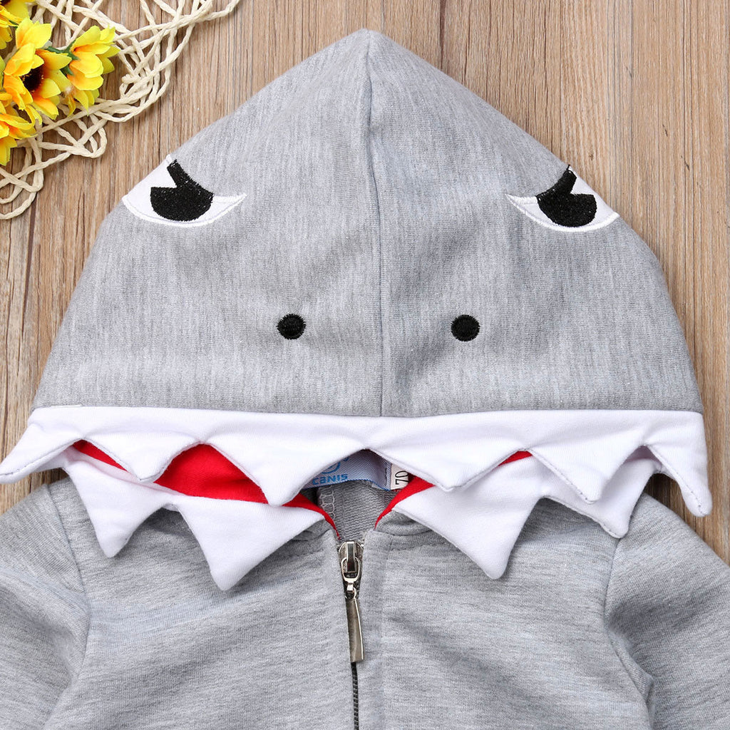 Shark Attack Teeth Hooded Zipper Romper Costume - Tops - baby-petite