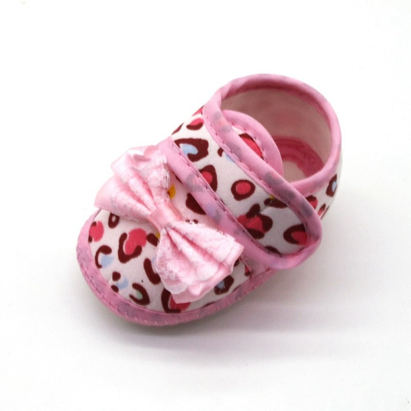 Tiny Pink Leopard Bow Strap On Shoes