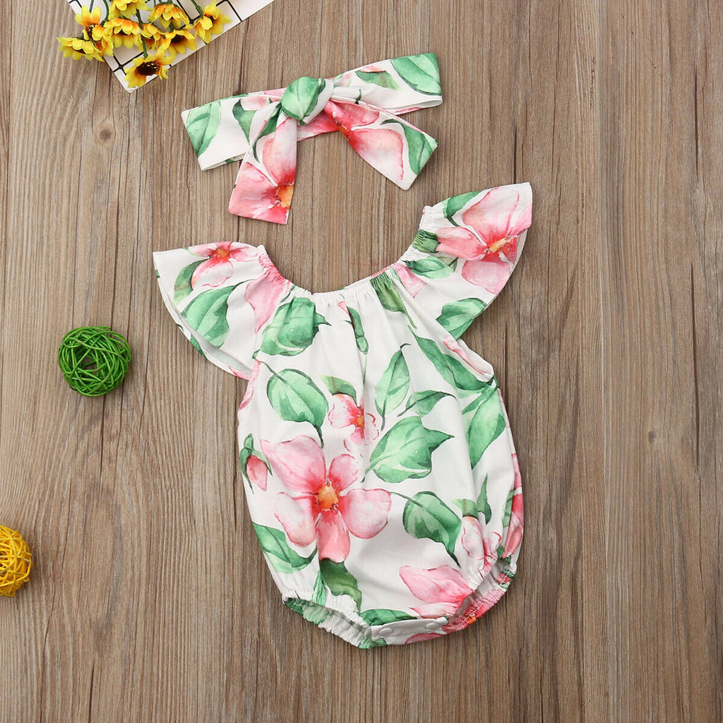 Jungle Vibe Floral Romper With Matching Headband - Rompers - baby-petite