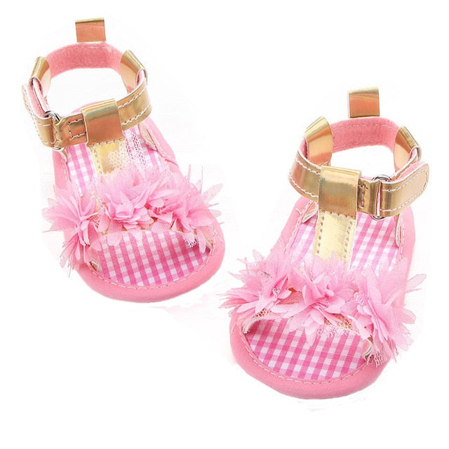 Asha Furry Floral Strap On Sandals