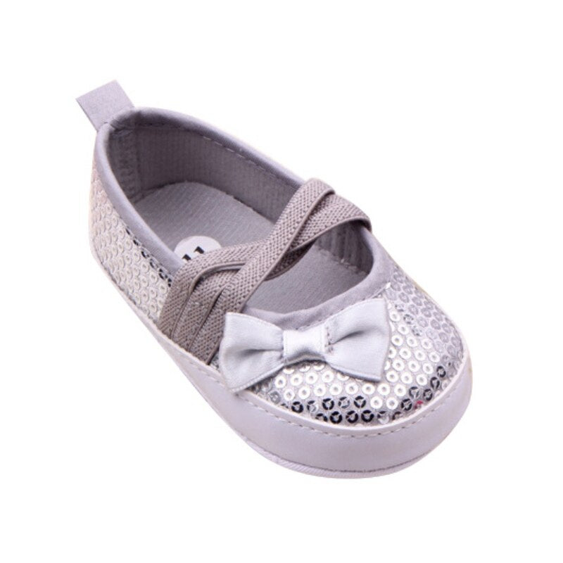 Serena Sequin Bow Slip On Shoes