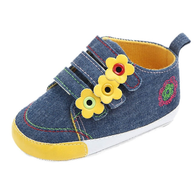 The Yellow Flower Denim Strap On Shoes