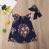 Sophie Navy Lace Floral Dress With Matching Headband - Dresses - baby-petite
